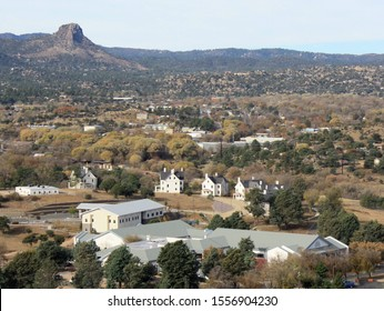 Prescott, Arizona, United States - November 10, 2019: Landscape of Fort Whipple with Thumb Butte in the background