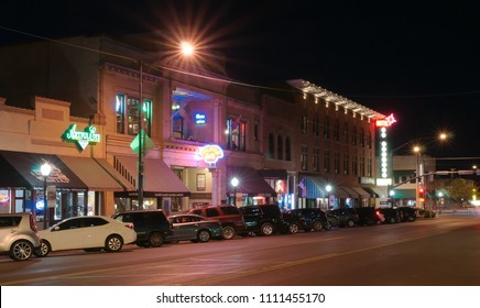 Prescott, Arizona, USA 4-26-2018 Whiskey Row at night lit up
