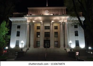 Prescott, Arizona, USA 4-28-2018 Yavapai County Courthouse lit up at night time