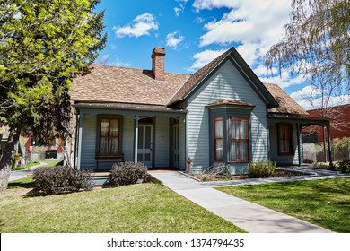 Prescott, Arizona / USA - April 17, 2019: Historic Fremont House built in 1875, moved to Sharlot Hall Museum in 1972.  Used by Territorial Governor John C. Fremont
