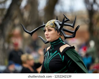 Prescott, Arizona, USA - December 1, 2018: Woman dressed as female super hero in the Christmas parade in downtown Prescott