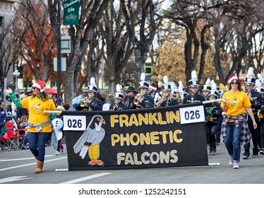 Prescott, Arizona, USA - December 1, 2018: Franklin Phonetic Falcons marching band participating in the Christmas parade in downtown Prescott