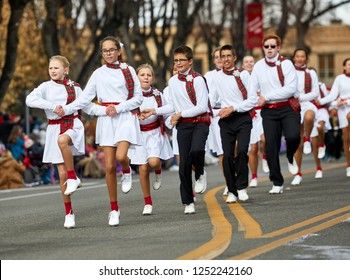 Prescott, Arizona, USA - December 1, 2018: Young Tap Dancers in Christmas Parade on Cortez St.