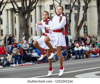 Prescott, Arizona, USA - December 1, 2018: Two Young Tap Dancers in Christmas Parade on Cortez St.