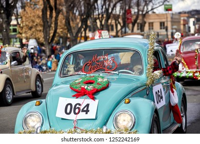 Prescott, Arizona, USA - December 1, 2018: Volkswagen Vintage Car club in Christmas parade on Cortez St.