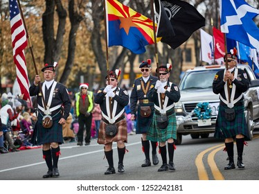 Prescott, Arizona, USA - December 1, 2018: Scottish Military Organization participating in the Christmas parade in downtown Prescott