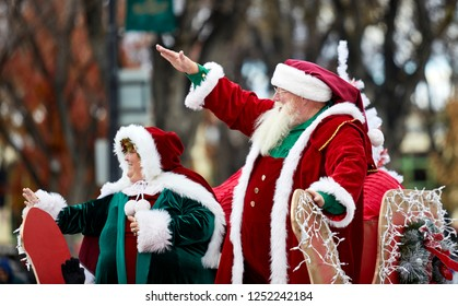 Prescott, Arizona, USA - December 1, 2018: Mr. and Mrs. Santa Claus in Christmas parade