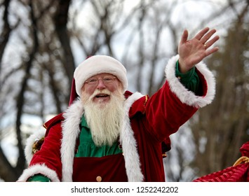 Prescott, Arizona, USA - December 1, 2018: Santa Claus waving to the spectators at the Christmas parade