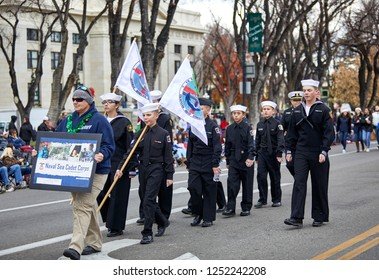Prescott, Arizona, USA - December 1, 2018: Naval Sea Cadets participating in the Christmas parade in downtown Prescott