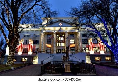 Prescott, Arizona, USA - December 24, 2015: Yavapai County Courthouse lit with Christmas lights on Christmas Eve.