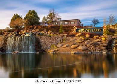 Prescott, Arizona, USA - January 2, 2018 : Prescott Lakes sign with an artificial waterfall. Prescott Lakes is a residential and golf community located in the city of Prescott. Long exposure.