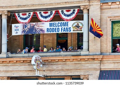 Prescott, Arizona, USA - June 3-, 2018: Specators seated in the Palace Saloon watching the 4th of July events in downtown Prescott