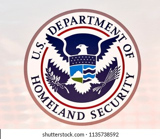 Prescott, Arizona, USA - June 30, 2018: Emblem of the US Department of Homeland Security on the driver's door of the Border Patrol SUV in downtown Prescott