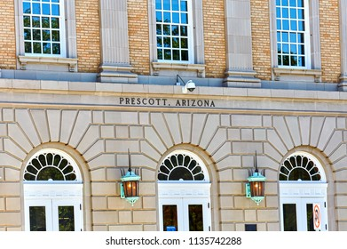 Prescott, Arizona, USA - June 30, 2018: US Post Office building in historical downtown Prescott