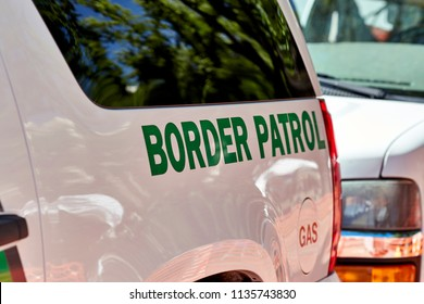 Prescott, Arizona, USA - June 30, 2018: Border Patrol SUV parked on the side of the road in downtown Prescot for the 4th of July Events