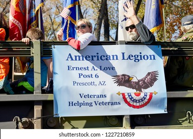 Prescott, Arizona, USA - November 10, 2018: American Legion in a military truck in the Veteran's Day Parade on Cortez St.