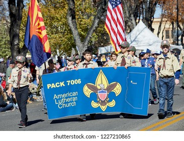 Prescott, Arizona, USA - November 10, 2018: Boy Scouts marching  in the Veteran's Day Parade on Cortez St.