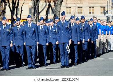 Prescott, Arizona, USA - November 10, 2018:Embry Riddle Aeronautical University Air Force ROTC students marching  in the Veteran's Day Parade on Cortez St.