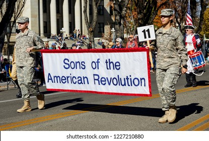 Prescott, Arizona, USA - November 10, 2018: Sons of the American Revolution Banner  in the Veteran's Day Parade on Cortez St.