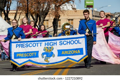 Prescott, Arizona, USA - November 10, 2018:Prescott High School marching band  in the Veteran's Day Parade on Cortez St.