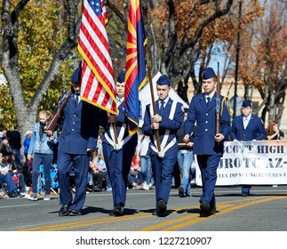 Prescott, Arizona, USA - November 10, 2018: Prescott High School Air Force JR ROTC Marching  in the Veteran's Day Parade on Cortez St.
