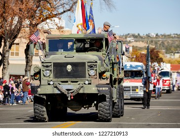 Prescott, Arizona, USA - November 10, 2018: American Legion military truck in the Veteran's Day Parade on Cortez St.