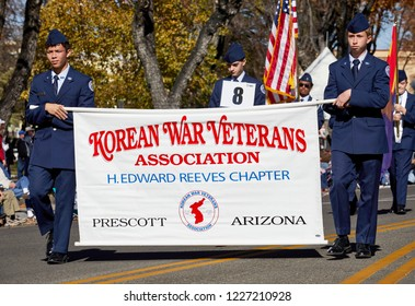 Prescott, Arizona, USA - November 10, 2018: Korean War Veterans Assocation Banner in the Veteran's Day Parade on Cortez St.