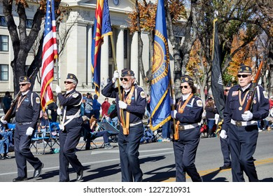 Prescott, Arizona, USA - November 10, 2018: Honor guard marching in the Veteran's Day Parade on Cortez St.