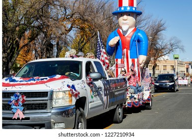 Prescott, Arizona, USA - November 10, 2018: APS float  in the Veteran's Day Parade on Cortez St.