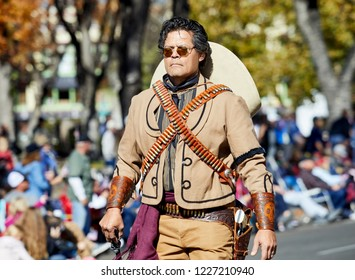 Prescott, Arizona, USA - November 10, 2018: Man dressed in Western Cowboy Costume marching  in the Veteran's Day Parade on Cortez St.