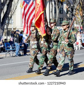 Prescott, Arizona, USA - November 10, 2018: Granite Mountain Young Marines marching  in the Veteran's Day Parade on Cortez St.
