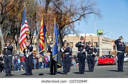 Prescott, Arizona, USA - November 10, 2018: Honor guard salute in the Veteran's Day Parade on Cortez St.