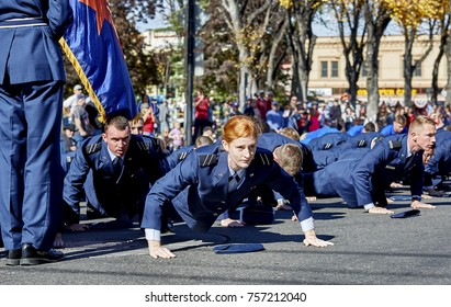 Prescott, Arizona, USA - November 11, 2017: Embry Riddle University Air Force ROTC doing push ups in the Veterans Day Parade