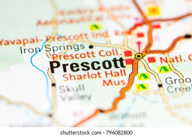 Prescott. Arizona. USA on a map