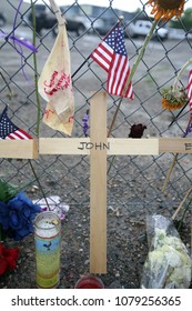 Prescott, Arizona/USA- July 03, 2013: A memorial for the 19 fallen firefighters stands outside of Granite Mountain Hotshots Fire Station 7. Nineteen firemen died during the Yarnell Hill fire.