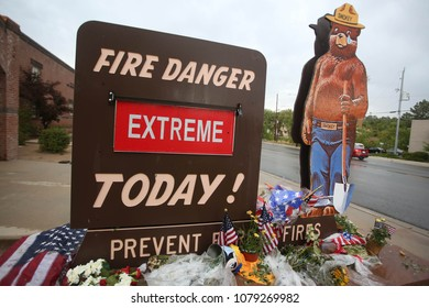 Prescott, Arizona/USA-July 02, 2013: An extreme fire danger sign is pictured outside of the Prescott Fire Station 1 in Prescott, Arizona. The ongoing Yarnell Hill fire killed 19 firefighting hotshots.