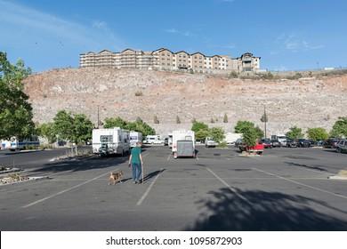 Prescott, AZ, USA - May 18, 2018: building on hill in Prescott. Prescott is a city in central Arizona.