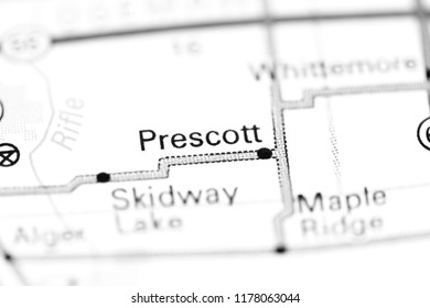 Prescott. Michigan. USA on a map