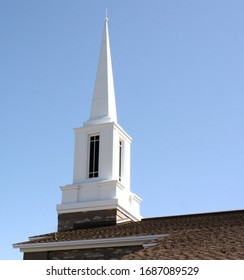Prescott Valley, Arizona, United States - March 28 2020: Profile view of a Steeple atop an LDS Ward