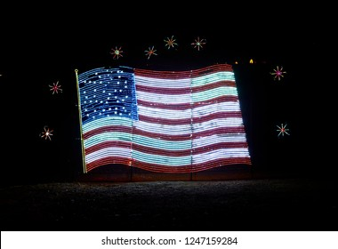 Prescott Valley, Arizona, USA - November 27, 2018: Christmas light display of the American Flag at Fain Park called Valley of Lights