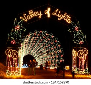 Prescott Valley, Arizona, USA - November 27, 2018: Christmas light display at Fain Park called Valley of Lights