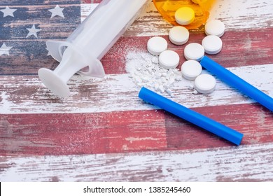 Prescription drug and opioid crisis in the United States and parts of the world. Health care concept on American flag.
