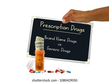 Prescription Drugs (Brand Name vs. Generic) blackboard sign held by hand behind prescription bottle with twenty dollar bill and medicine white background