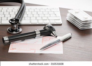 Prescription drugs on the desk of a medical practice