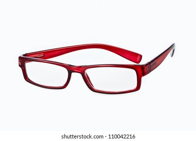 Prescription glasses on white background
