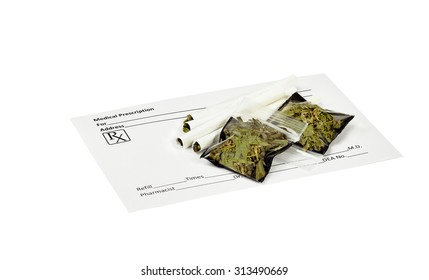 Prescription marijuana cigarettes with blank prescription form and packets of dried marijuana leaves.
