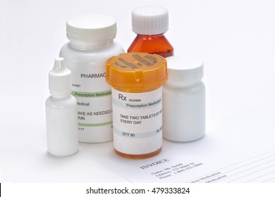 Prescription medications with paper invoice.