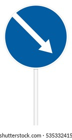 Prescriptive traffic sign isolated on white 3D illustration - Direct right