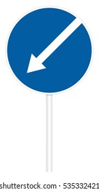 Prescriptive traffic sign isolated on white 3D illustration - Direct left