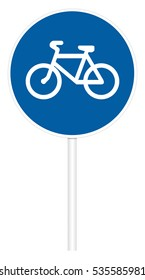 Prescriptive traffic sign isolated on white 3D illustration - Bicycle path